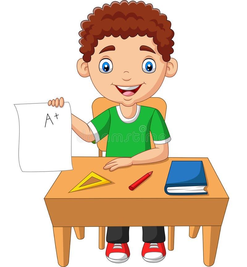 Kreskówki chłopiec mienia papier z A plus stopień ilustracja wektor