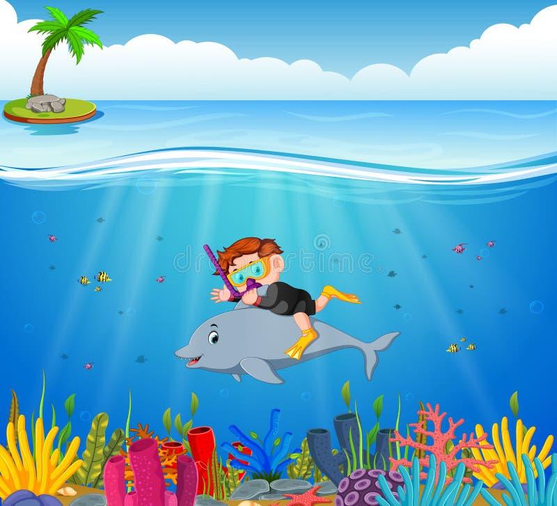 Kreskówki chłopiec pikowanie w morzu z delfinem ilustracja wektor