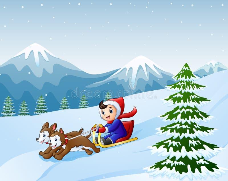 Kreskówki chłopiec sledding w dół na śniegu ciągnął dwa psami ilustracja wektor