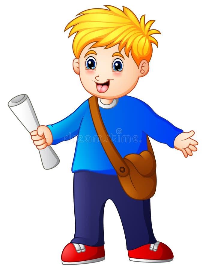 Kreskówki chłopiec sprzedawania gazety royalty ilustracja