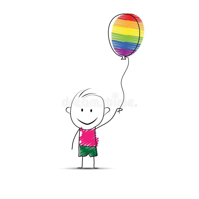Kresk?wki ch?opiec trzyma pi?k? w jego r?ce w kolorach LGBT ilustracja wektor