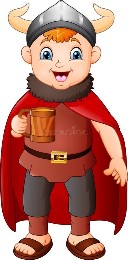 Kreskówki chłopiec trzyma piwnego kubek w Viking kostiumu ilustracja wektor