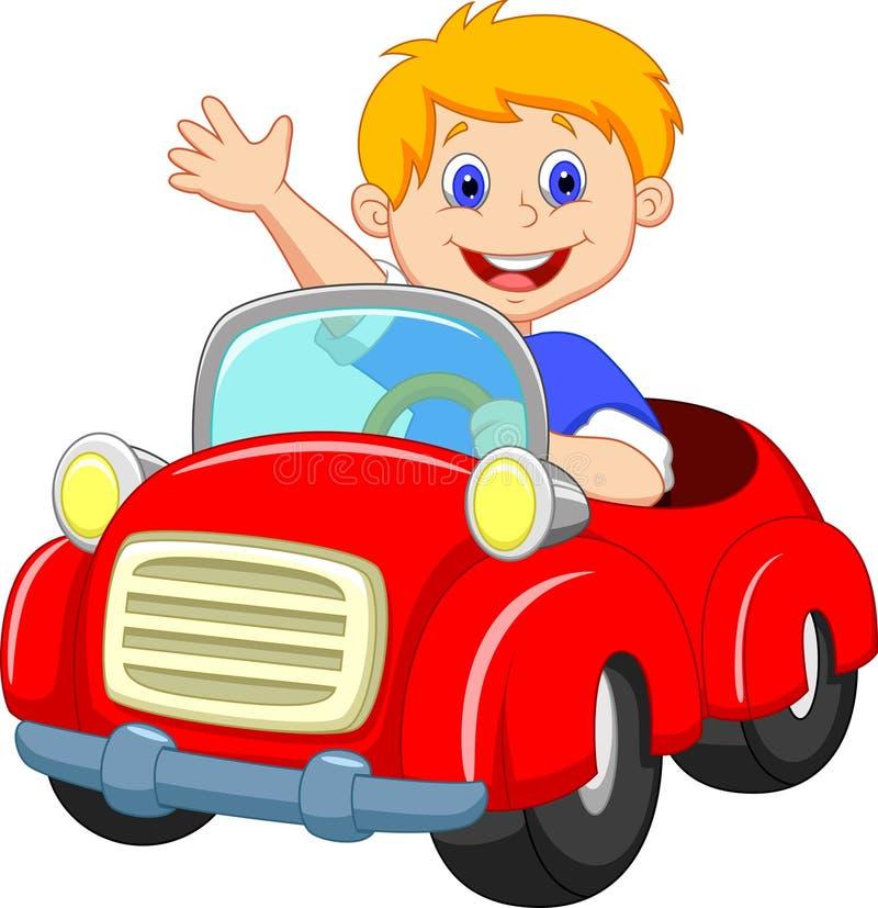 Kreskówki chłopiec w czerwonym samochodzie ilustracji