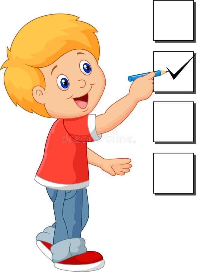 Kreskówki chłopiec z listą kontrolną ilustracja wektor