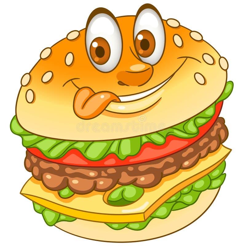 Kreskówki cheeseburger hamburgeru hamburger ilustracja wektor