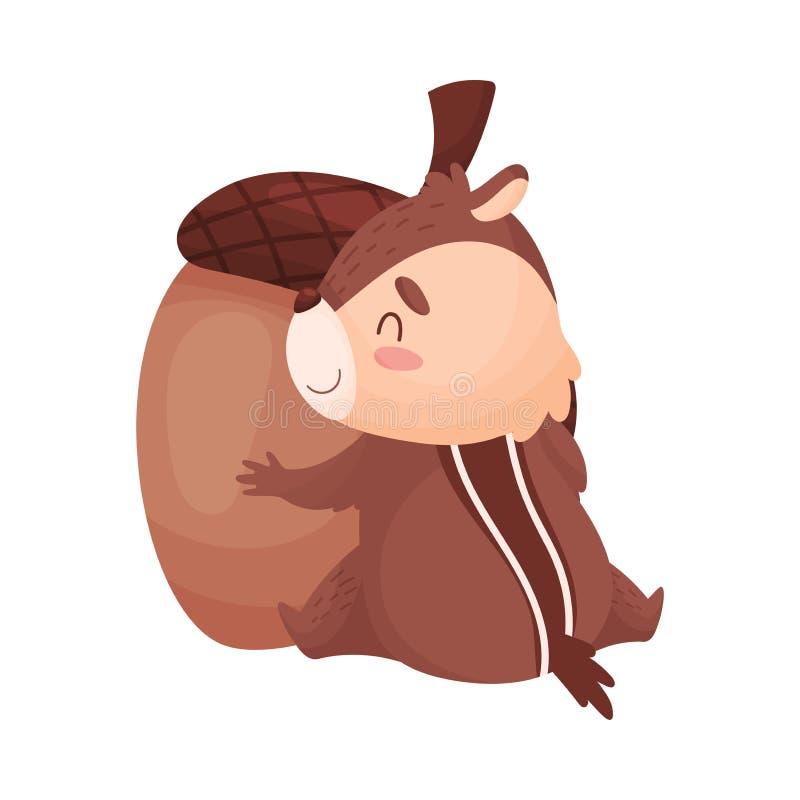 Kreskówki chipmunk ściska acorn Wektorowa ilustracja odizolowywaj?ca na bia?y tle ilustracja wektor
