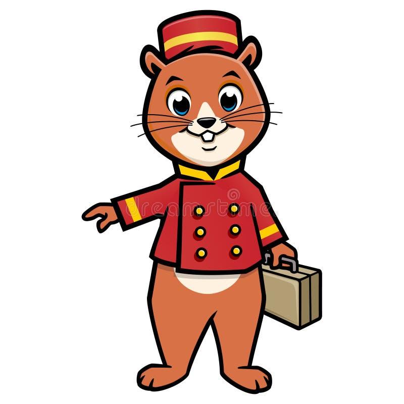 Kreskówki Chipmunk Bellboy royalty ilustracja