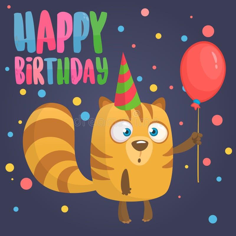 Kreskówki chipmunk mienia czerwieni balon Wszystkiego Najlepszego Z Okazji Urodzin pocztówkowa wektorowa ilustracja Wakacyjny zap royalty ilustracja