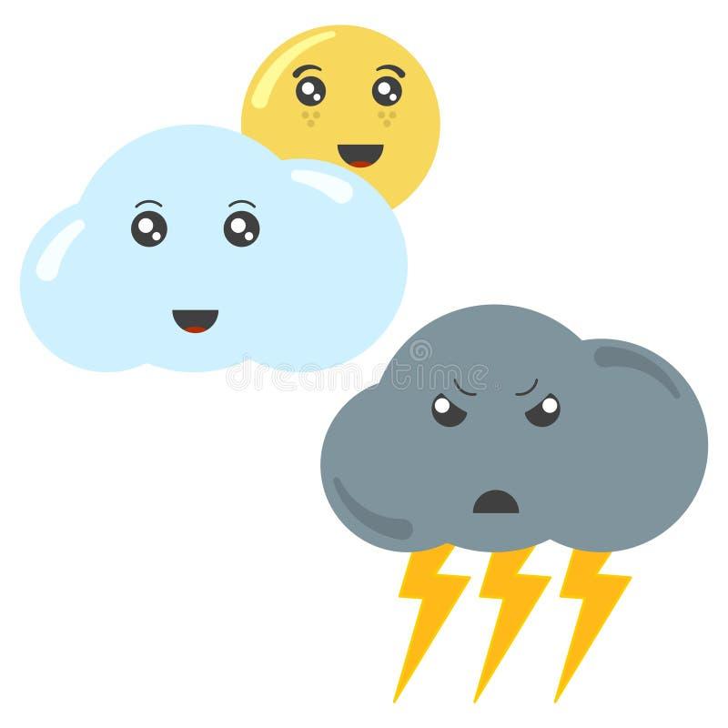 Kreskówki chmura z słońcem i thundercloud z błyskawicą Odosobniona wektorowa ilustracja na bia?ym tle ilustracja wektor