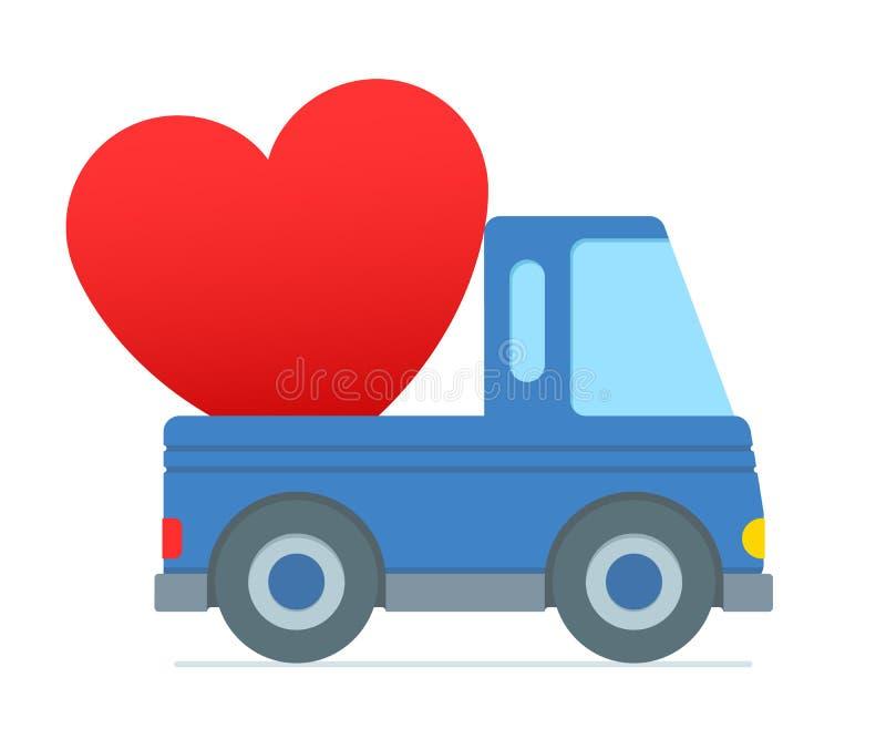 Kreskówki ciężarowy dostarczać nad sklejonym sercem ilustracji
