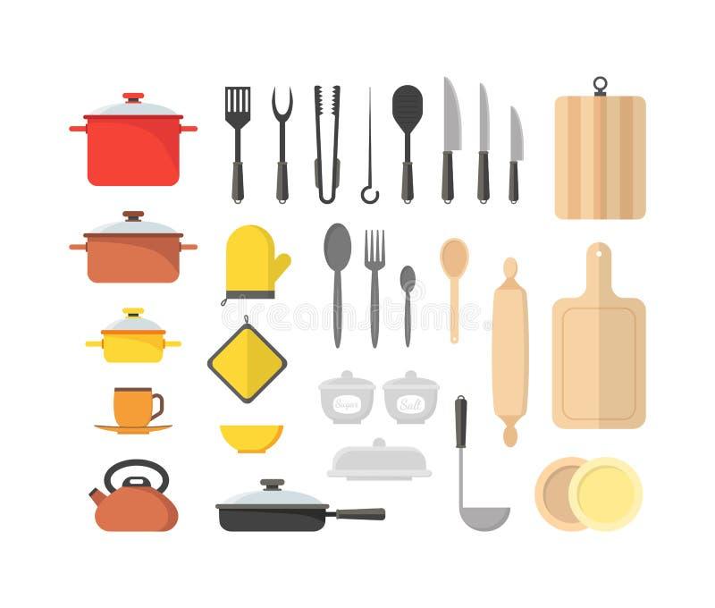 Kreskówki Cookware set wektor royalty ilustracja