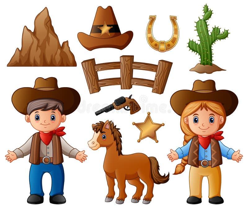 Kreskówki cowgirl z dzikimi zachodnimi elementami i kowboj ilustracja wektor