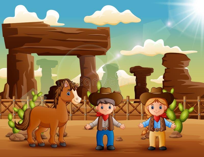 Kreskówki cowgirl z koniem w pustyni i kowboj ilustracji