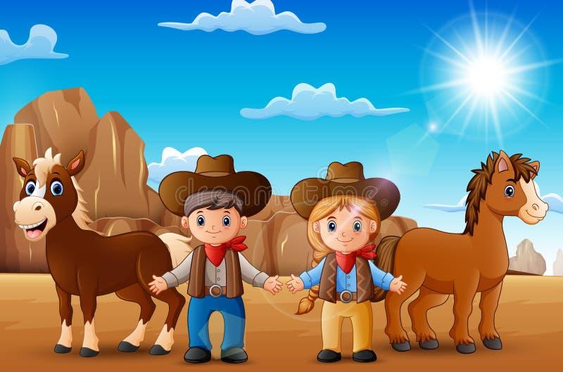Kreskówki cowgirl z zwierzętami w pustyni i kowboj ilustracji