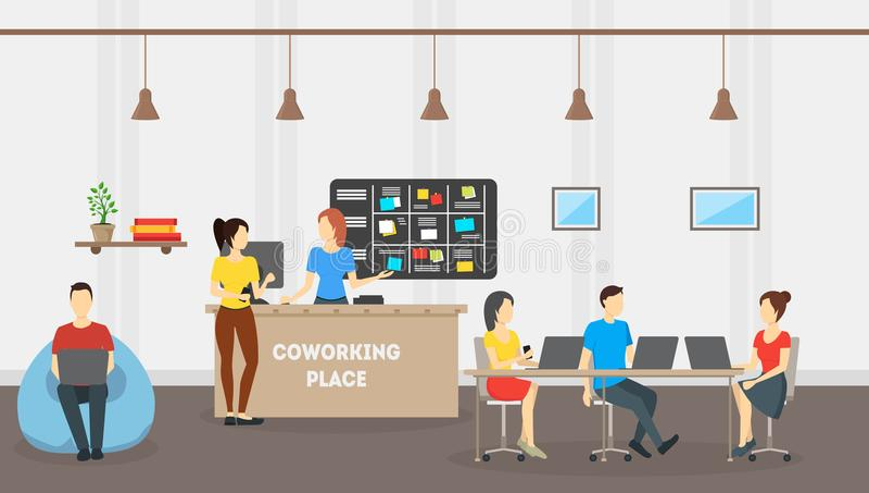 Kreskówki Coworking miejsca karty plakat wektor ilustracji