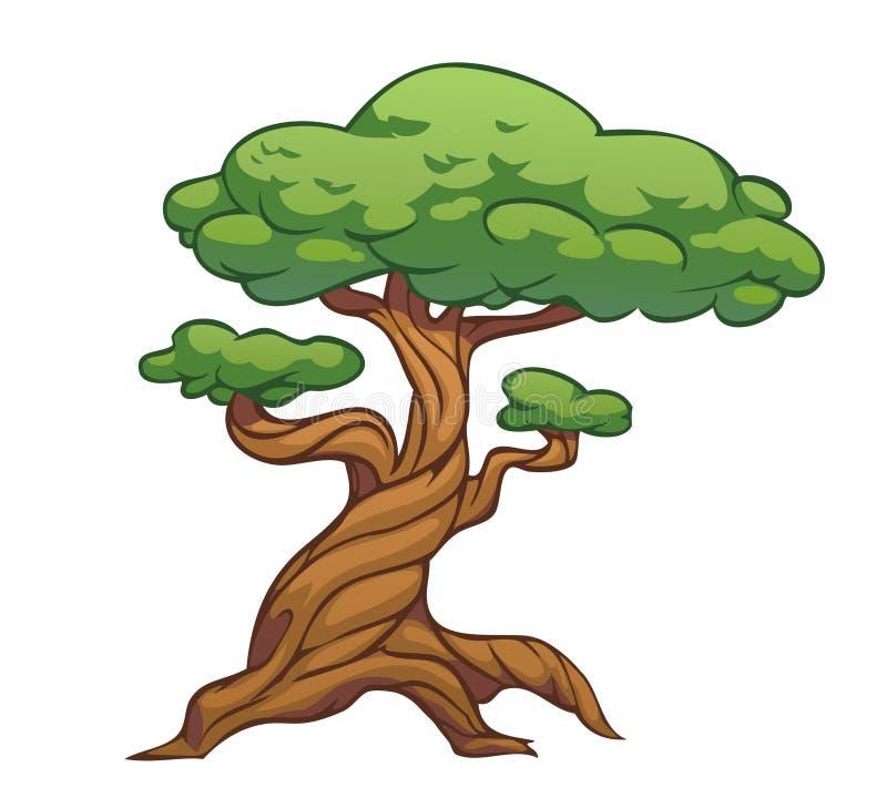 Kreskówki curvy drzewo royalty ilustracja