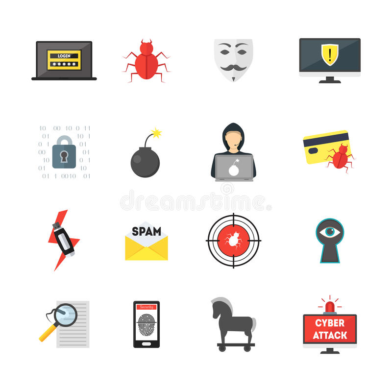 Kreskówki Cyber przestępstwa ochrony koloru ikony Ustawiać wektor ilustracji