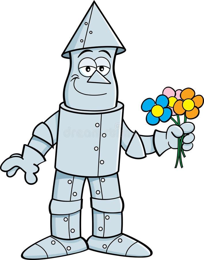 Kreskówki cyny mężczyzna mienia kwiaty ilustracja wektor