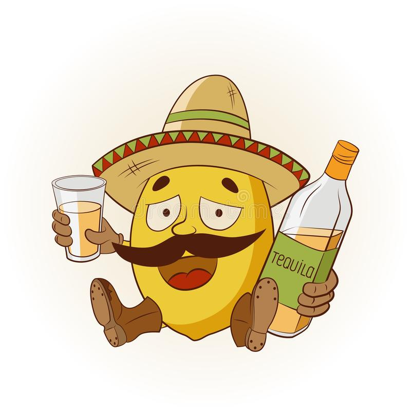 Kreskówki cytryna w sombrero i butach pije tequila r?wnie? zwr?ci? corel ilustracji wektora royalty ilustracja