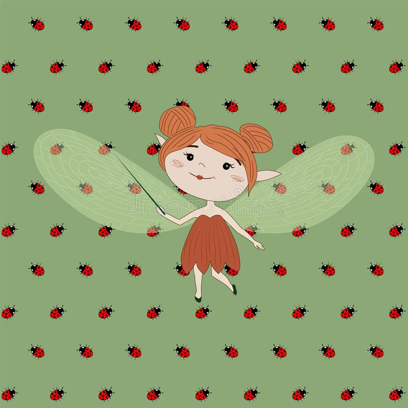 Kreskówki czarodziejka na zielonym tle, wektorowy ilustration ilustracji