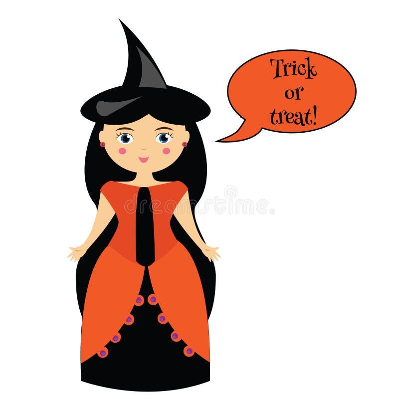 Kreskówki czarownicy śliczny charakter w sukni i kapeluszu Dziewczyna mówi trikowego lub fundę w Halloween kostiumu z mowa bąblem royalty ilustracja