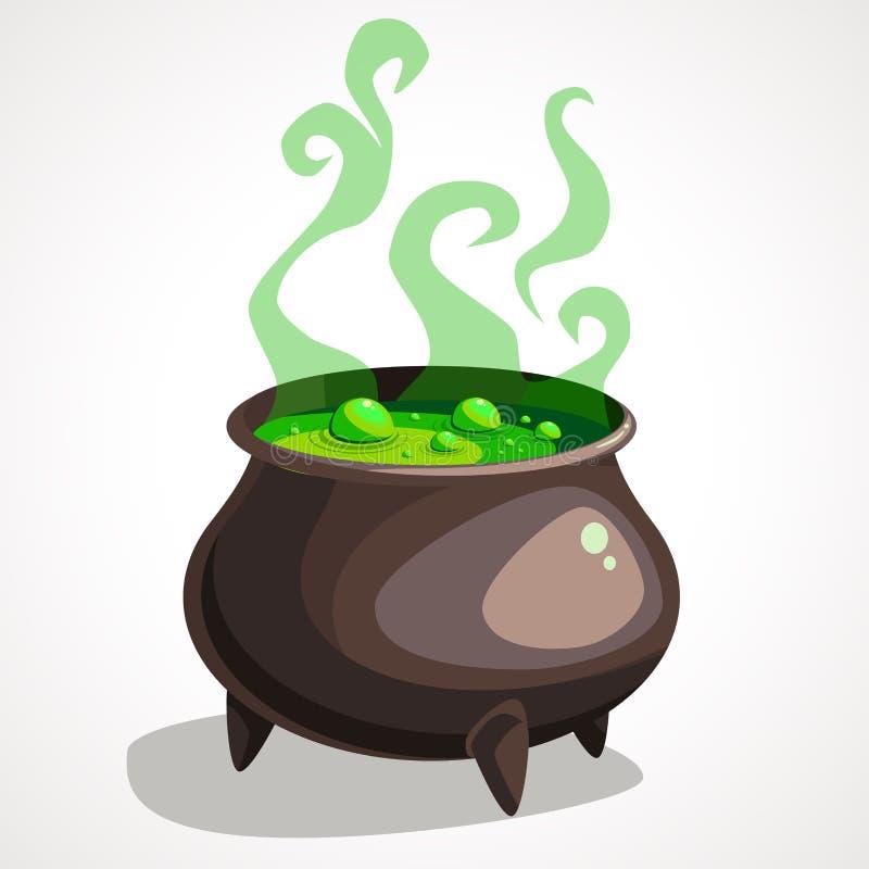 Kreskówki czarownicy kocioł z magii zieleni kontrparą i napojem miłosnym ilustracja wektor