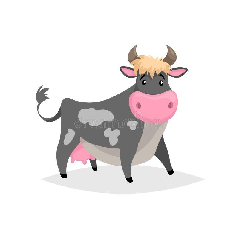 Kreskówki czerni łaciasta krowa Rolny śmieszny zwierzę odizolowywający na białym tle Płaski modny styl ilustracja wektor