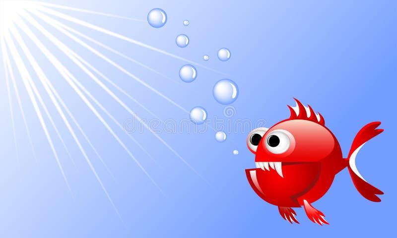 Kreskówki czerwona gniewna ryba w wodzie z bąblami i promieniami światło ilustracja wektor