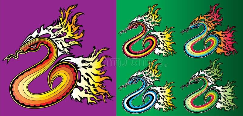 Kreskówki czołgania wąż z ogieniem płonie tło ilustrację ilustracji