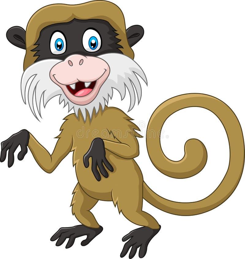Kreskówki długouszki śmieszna małpa odizolowywająca na białym tle royalty ilustracja