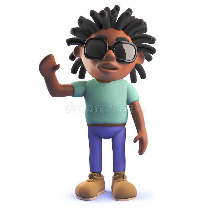 Kreskówki 3d czarnego afrykanina rastafarian mężczyzna macha rozochocony cześć ilustracja wektor