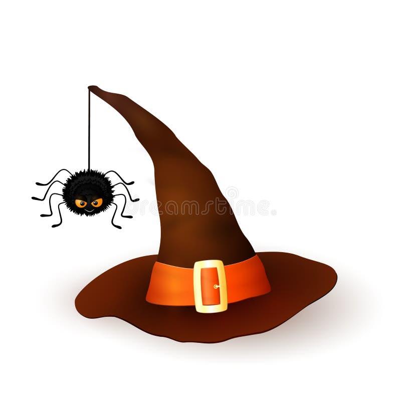 Kreskówki 3d czarownicy Halloweenowy kapelusz z wieszać kosmatego czarnego pająka na białym tle Brown nakrętka z pomarańcze ilustracja wektor