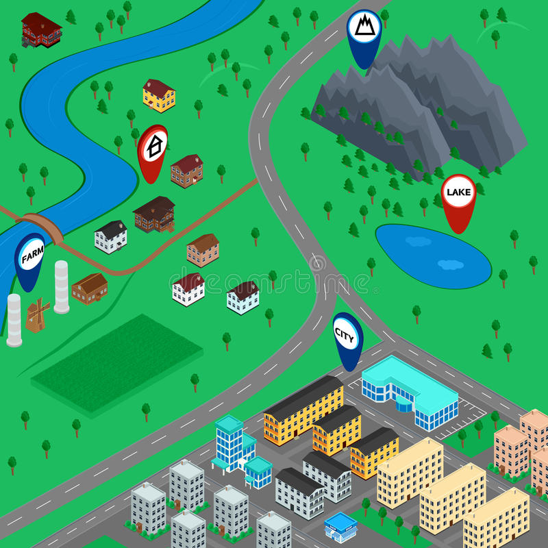 Kreskówki 3D mapy krajobraz ilustracji
