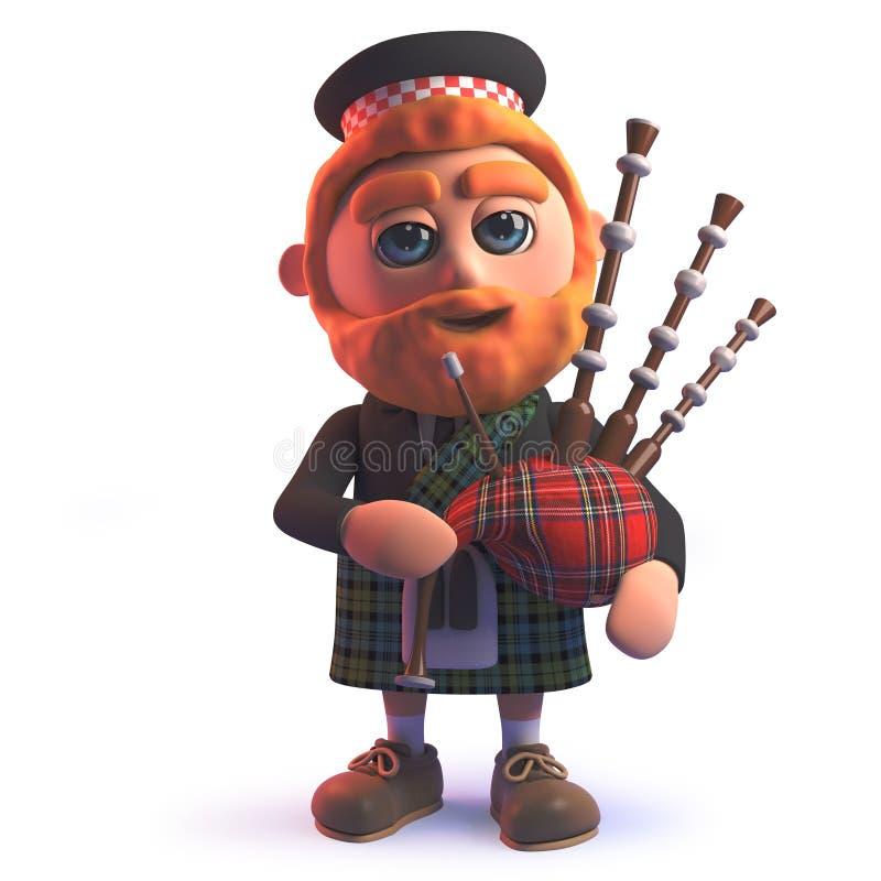 Kreskówki 3d Scots mężczyzna w kilt bawić się Szkockie kobze royalty ilustracja