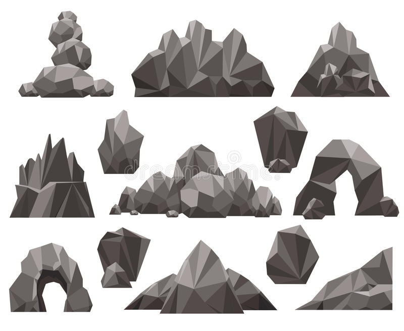 Kreskówki 3d skała i kamienia set ilustracja wektor