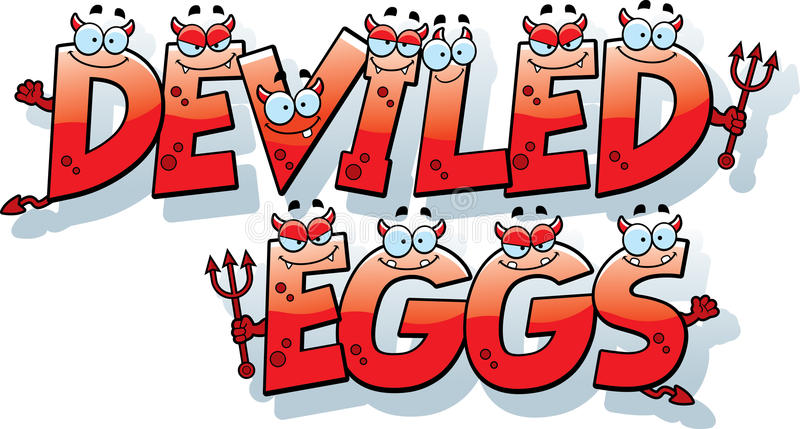 Kreskówki Deviled jajek tekst ilustracja wektor