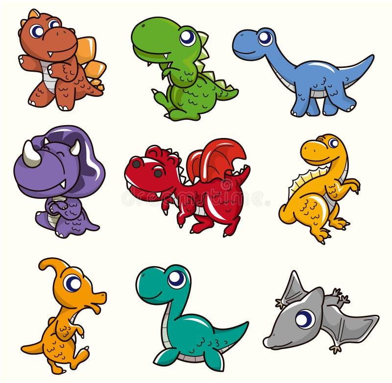 kreskówki dinosaura ikona royalty ilustracja