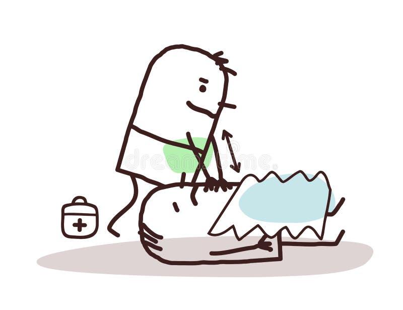 Kreskówki doktorska daje pierwsza pomoc ranny mężczyzna ilustracji