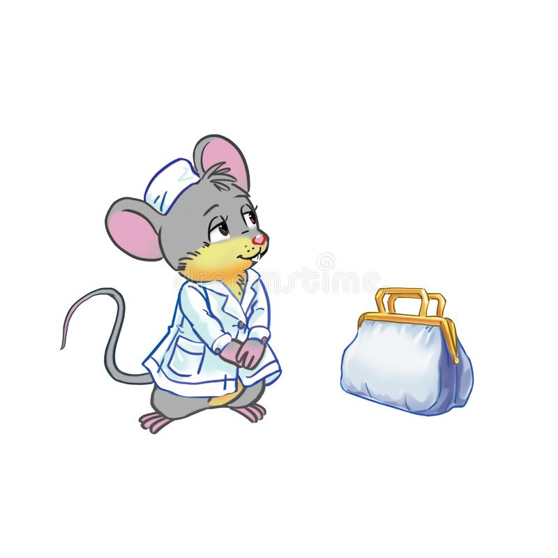 Kreskówki doktorska mysz ilustracja wektor