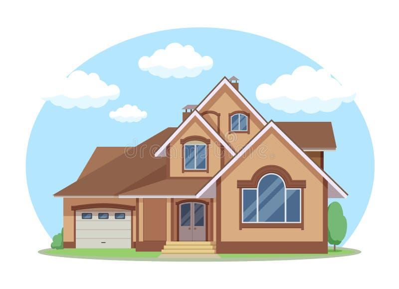 Kreskówki domowa powierzchowność z błękitem chmurniał niebo przodu domu architektury pojęcia projekta Płaskiego styl Wektorowa il royalty ilustracja
