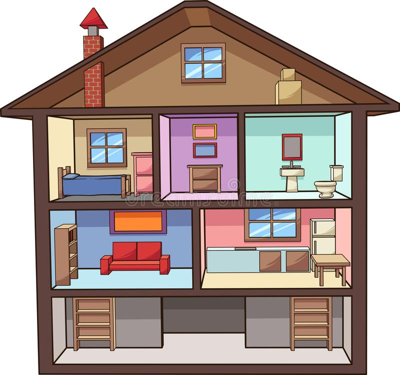 Kreskówki domowy wnętrze z pokojami ilustracji