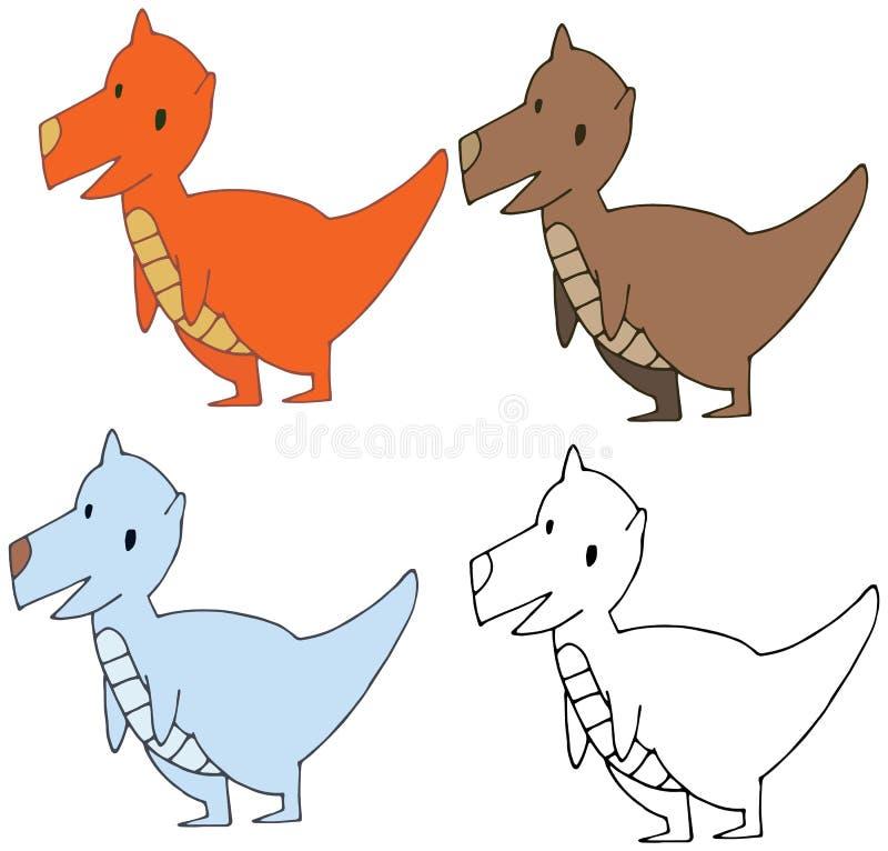 Kreskówki doodle dinosaura potwora ręki śmiesznego szczęśliwego remisu ustalony kolor ilustracja wektor