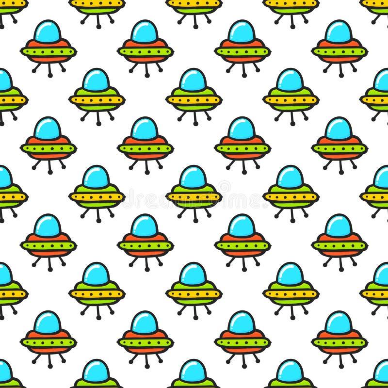 Kreskówki doodle kawaii stylu astronautycznego statku wektoru obcy bezszwowy wzór royalty ilustracja