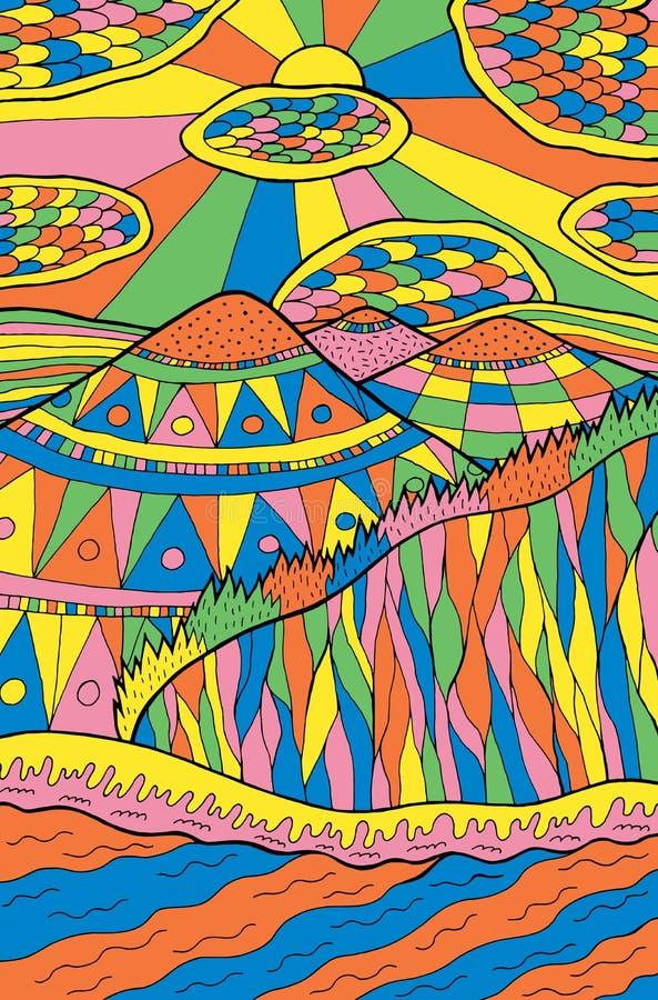 Kreskówki doodle krajobraz Góry, rzeka, chmury, słońce, lasowa Kolorowa psychodeliczna grafika sztuki mody dziewczyny ilustracyjn royalty ilustracja