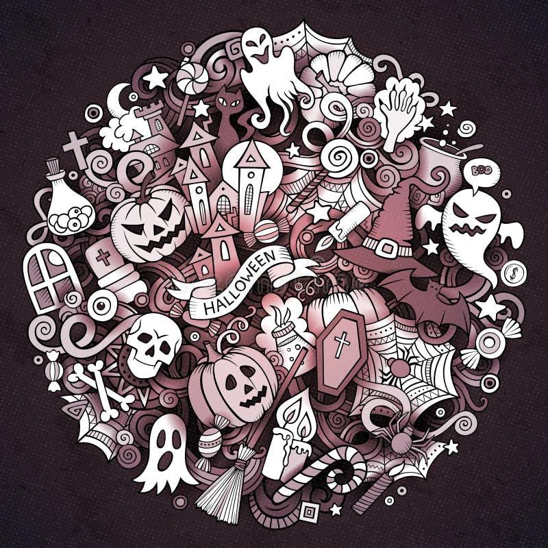 Kreskówki Doodle okręgu ręka rysująca Halloweenowa ilustracja royalty ilustracja