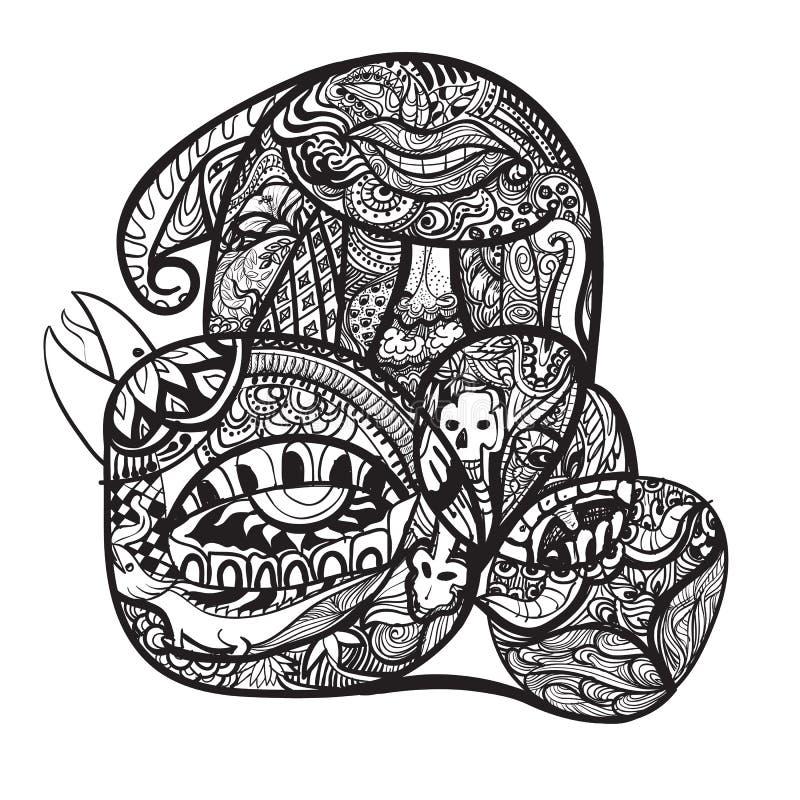 Kreskówki doodle ręki wektorowy remis abstrakt i wyobraźnia royalty ilustracja