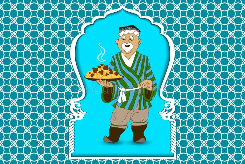 Kreskówki doodle ręki wektorowy remis Azja, uzbeka mężczyzna przygotowywa pilaf i zaprasza krajowy naczynie Uzbekistan ilustracja royalty ilustracja