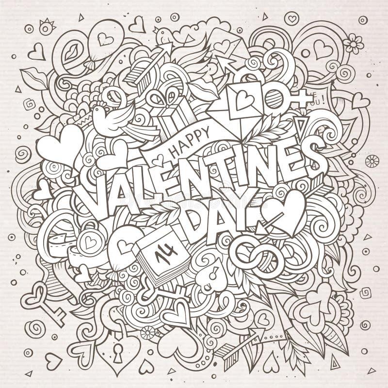 Kreskówki Doodle walentynek ręka rysujący Szczęśliwy dzień ilustracja wektor