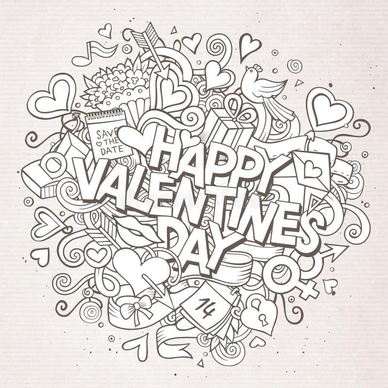 Kreskówki Doodle walentynek wektorowa ręka rysujący Szczęśliwy dzień ilustracja wektor
