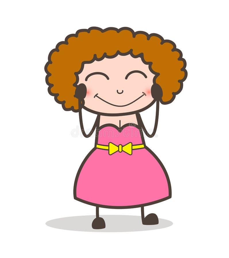 Kreskówki Dorosłej kobiety twarzy wyrażenia Spłoniony wektor royalty ilustracja
